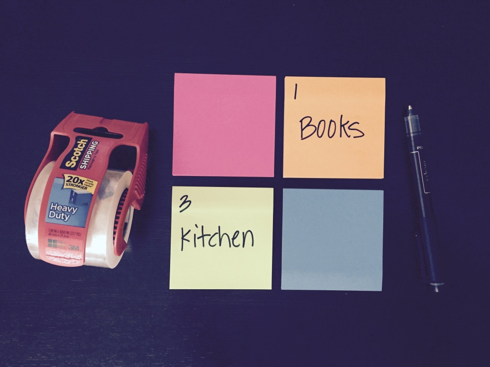 sticky note labeling for moving